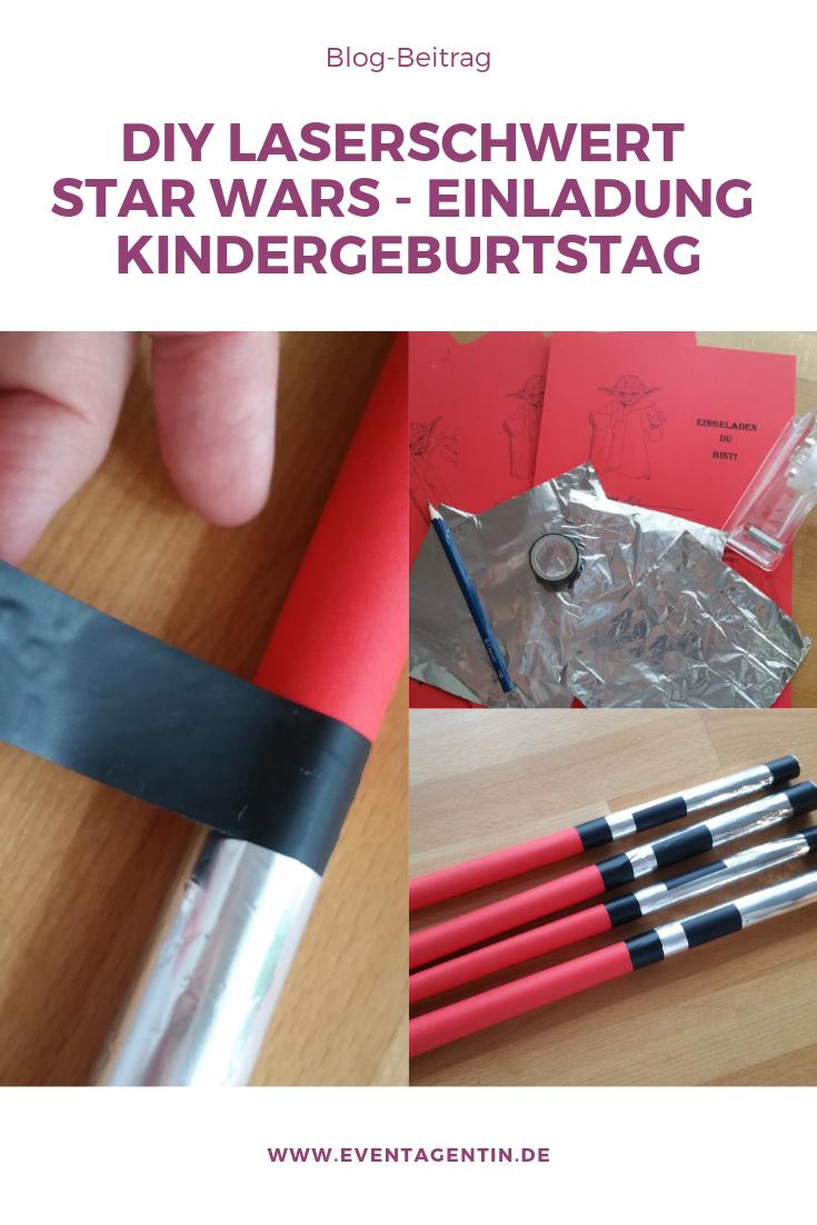 Anleitung DIY Laserschwert Einladung Kindergeburtstag selber basteln